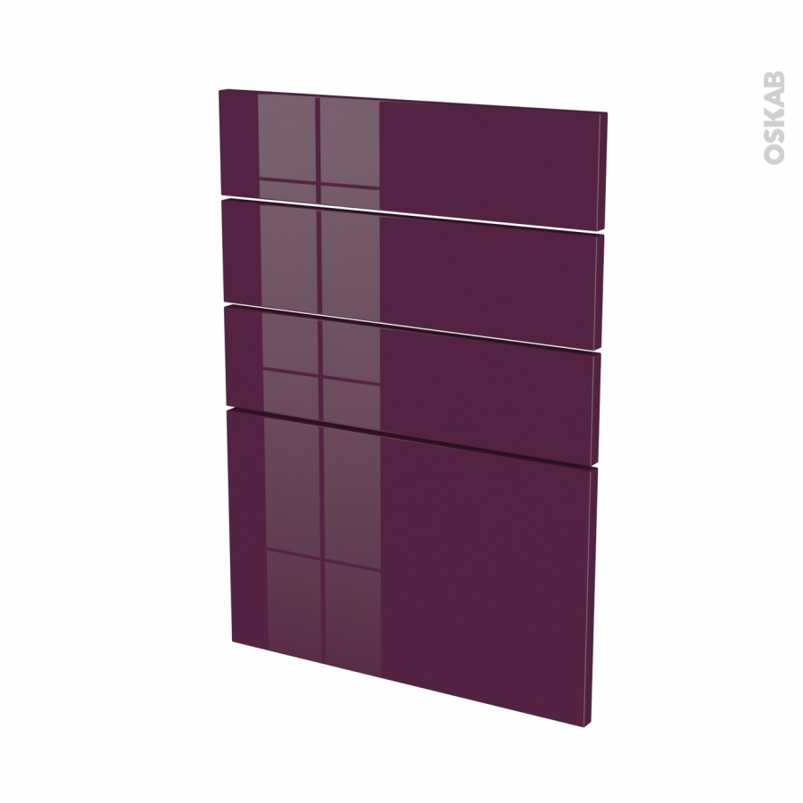 Fa ades de cuisine 4 tiroirs n 55 keria aubergine l50 x h70 cm oskab for Comfacade de cuisine seule
