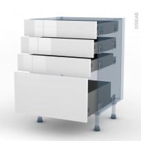 BORA Blanc - Kit Rénovation 18 - Meuble casserolier  - 4 tiroirs - L60xH70xP60