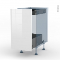 BORA Blanc - Kit Rénovation 18 - Meuble bas coulissant  - 1 porte-1 tiroir anglaise - L40xH70xP60