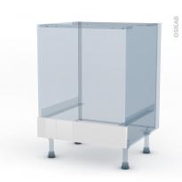 BORA Blanc - Kit Rénovation 18 - Meuble bas four  - bandeau bas - L60xH70xP60
