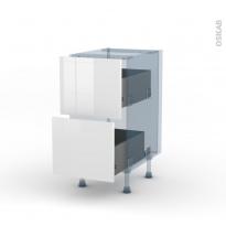 BORA Blanc - Kit Rénovation 18 - Meuble casserolier  - 2 tiroirs - L40xH70xP60