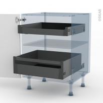 BORA Blanc - Kit Rénovation 18 - Meuble bas - 2 tiroirs à l'anglaise - L60xH70xP60
