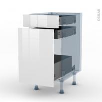 BORA Blanc - Kit Rénovation 18 - Meuble range épice - 3 tiroirs - L40xH70xP60