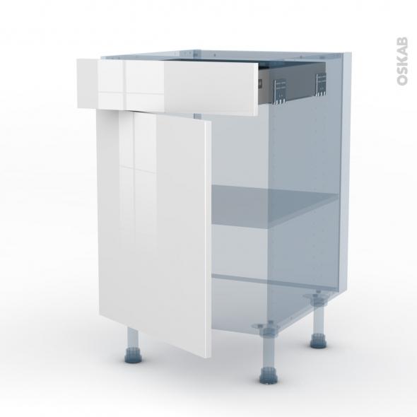 BORA Blanc - Kit Rénovation 18 - Meuble bas cuisine  - 1 porte 1 tiroir - L50xH70xP60