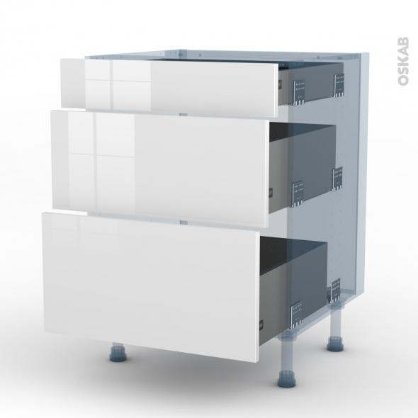 BORA Blanc - Kit Rénovation 18 - Meuble casserolier  - 3 tiroirs - L60xH70xP60