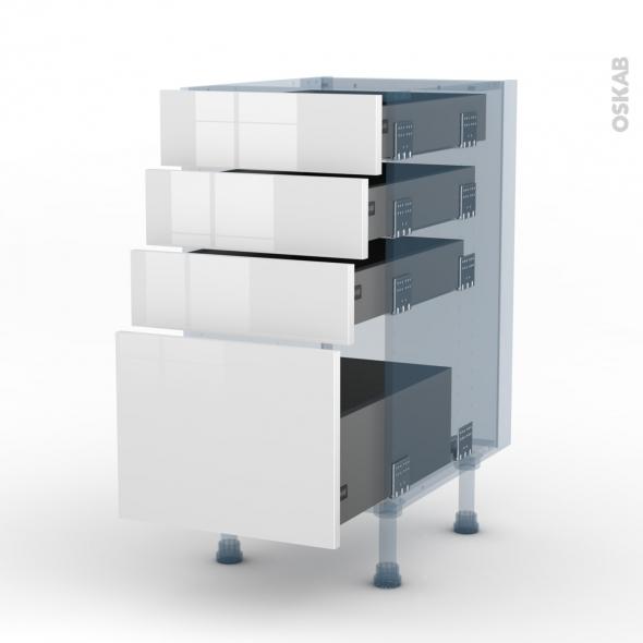 BORA Blanc - Kit Rénovation 18 - Meuble casserolier  - 4 tiroirs - L40xH70xP60