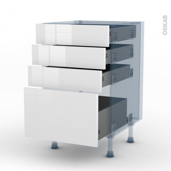 BORA Blanc - Kit Rénovation 18 - Meuble casserolier  - 4 tiroirs - L50xH70xP60