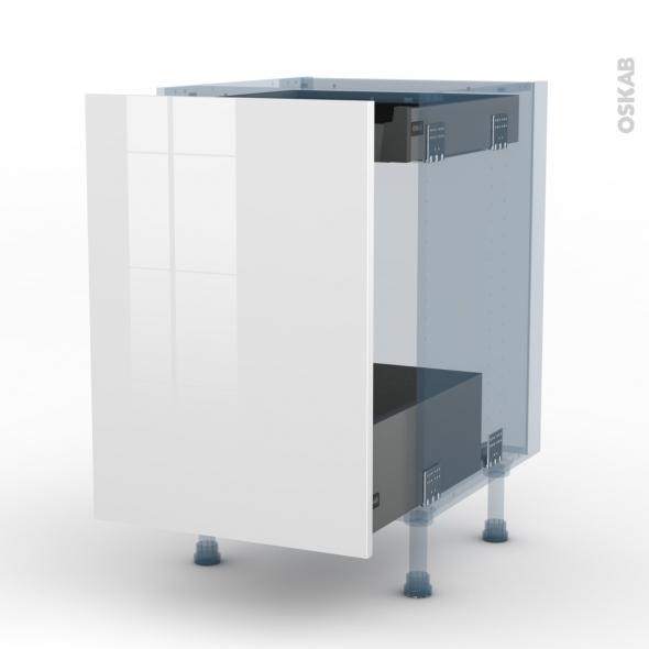 BORA Blanc - Kit Rénovation 18 - Meuble bas coulissant  - 1 porte -1 tiroir anglaise - L50xH70xP60