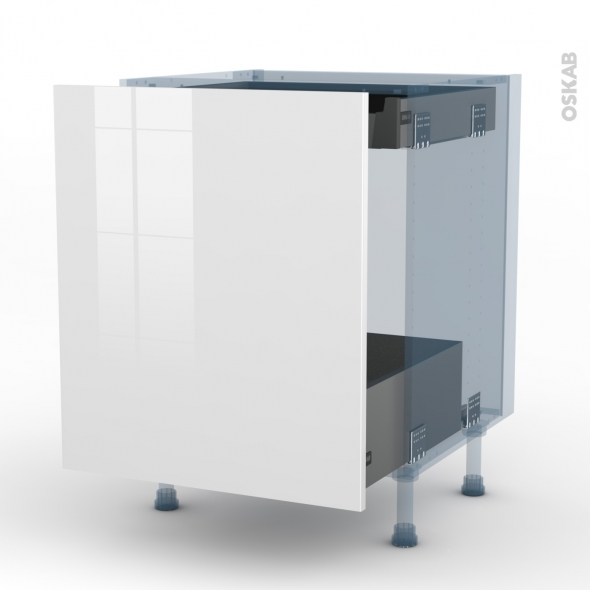 BORA Blanc - Kit Rénovation 18 - Meuble bas coulissant  - 1 porte -1 tiroir anglaise - L60xH70xP60