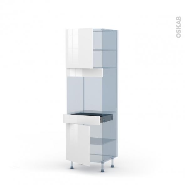BORA Blanc - Kit Rénovation 18 - Colonne Four N°1616  - 2 portes 1 tiroir - L60xH195xP60