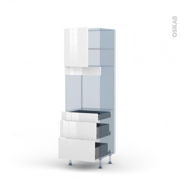 BORA Blanc - Kit Rénovation 18 - Colonne Four N°1658  - 1 porte 3 tiroirs - L60xH195xP60