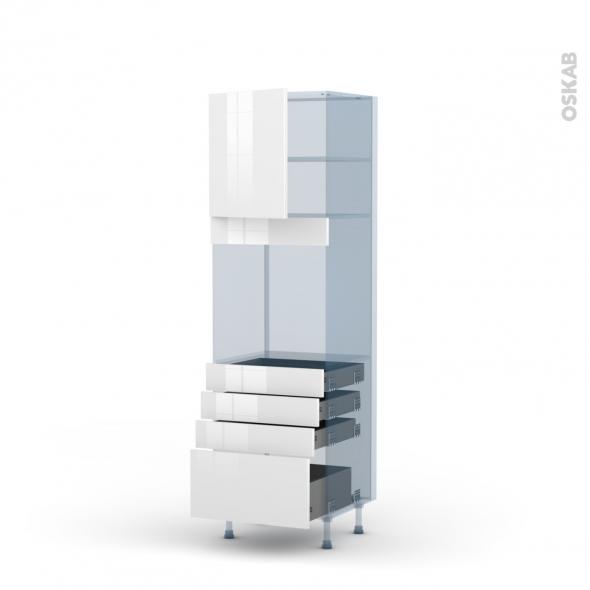 BORA Blanc - Kit Rénovation 18 - Colonne Four N°1659  - 1 porte 4 tiroirs - L60xH195xP60