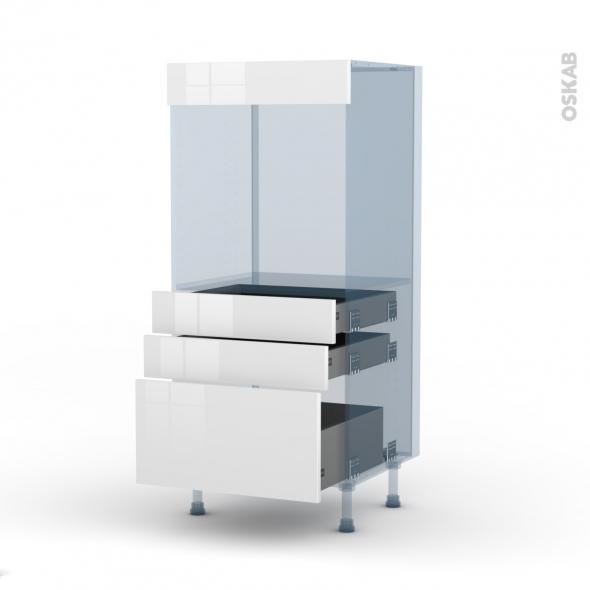 BORA Blanc - Kit Rénovation 18 - Colonne Four N°59  - 3 tiroirs - L60xH125xP60