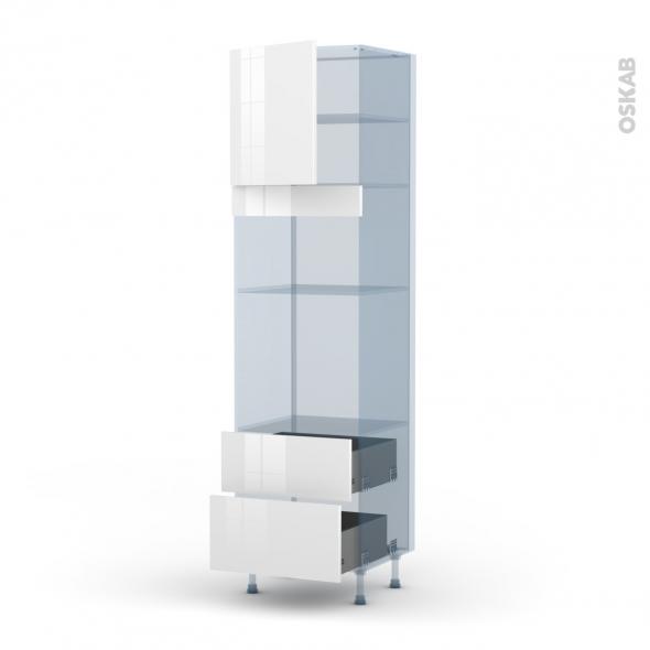 BORA Blanc - Kit Rénovation 18 - Colonne Four+MO 36/38 N°1658  - 1 porte 2 casseroliers - L60xH217xP60