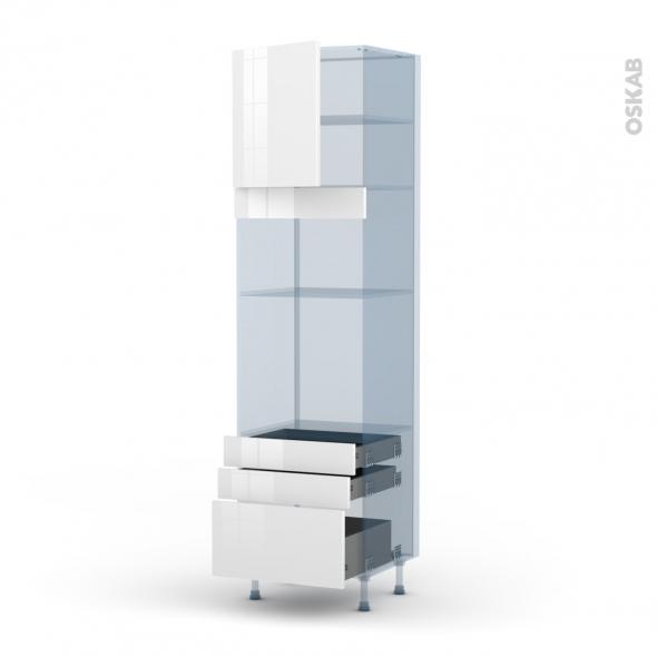 BORA Blanc - Kit Rénovation 18 - Colonne Four+MO 36/38 N°1659  - 1 porte 3 tiroirs - L60xH217xP60
