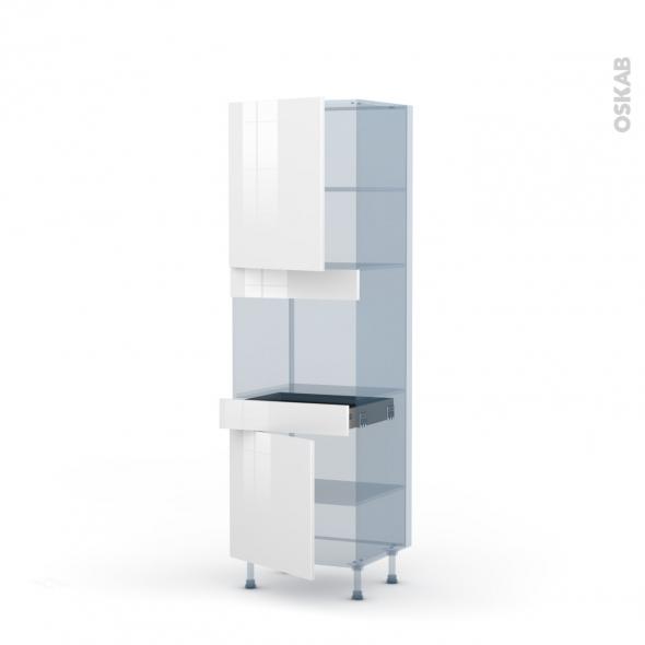 BORA Blanc - Kit Rénovation 18 - Colonne Four niche 45 N°2156  - 2 portes 1 tiroir - L60xH195xP60