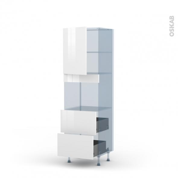 BORA Blanc - Kit Rénovation 18 - Colonne Four niche 45 N°2157  - 1 porte 2 casseroliers - L60xH195xP60