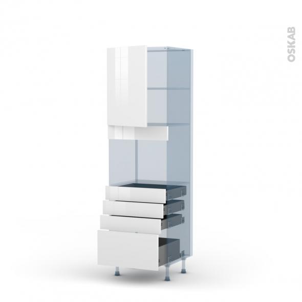 BORA Blanc - Kit Rénovation 18 - Colonne Four niche 45 N°2159  - 1 porte 4 tiroirs - L60xH195xP60