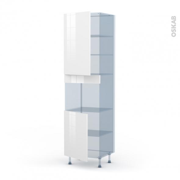 BORA Blanc - Kit Rénovation 18 - Colonne Four niche 45 N°2421  - 2 portes - L60xH217xP60