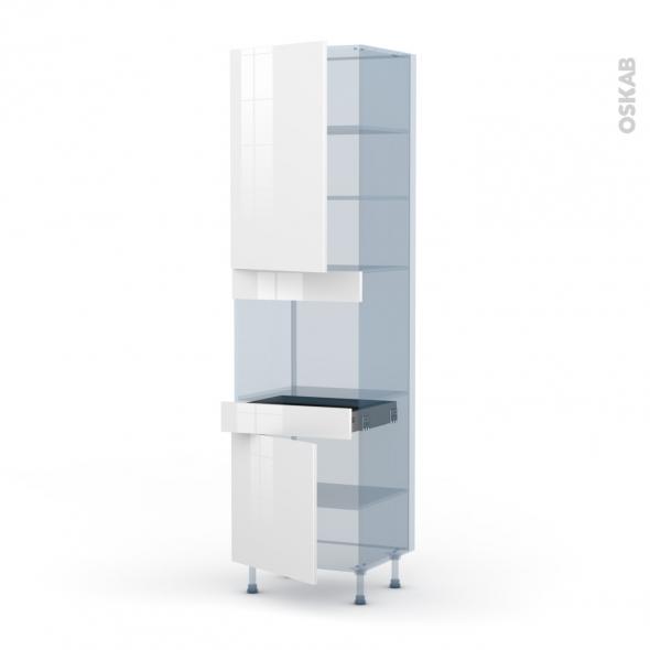 BORA Blanc - Kit Rénovation 18 - Colonne Four niche 45 N°2456  - 2 portes 1 tiroir - L60xH217xP60