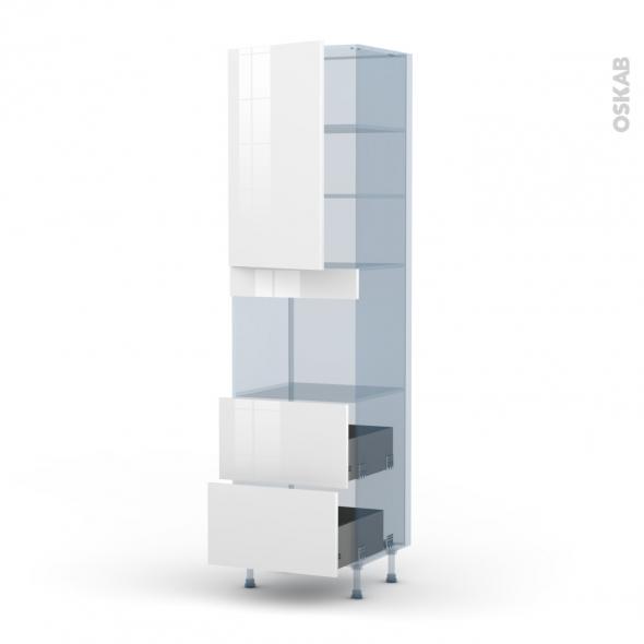BORA Blanc - Kit Rénovation 18 - Colonne Four niche 45 N°2457  - 1 porte 2 casseroliers - L60xH217xP60