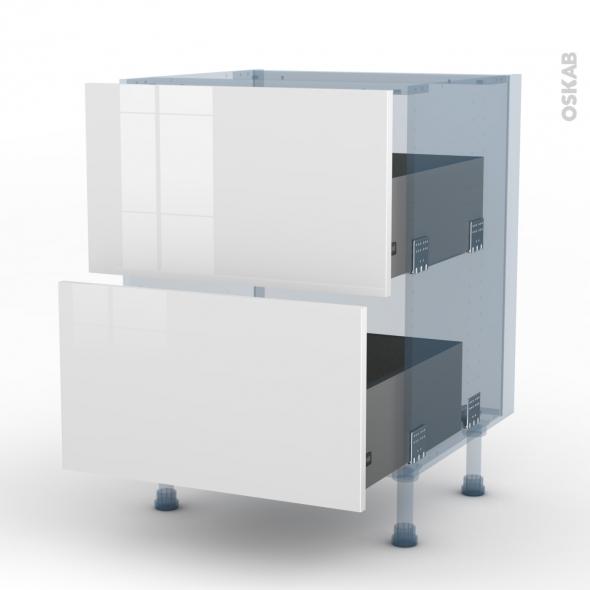 BORA Blanc - Kit Rénovation 18 - Meuble casserolier  - 2 tiroirs - L60xH70xP60