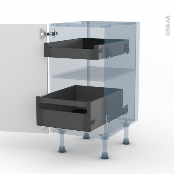 BORA Blanc - Kit Rénovation 18 - Meuble bas - 2 tiroirs à l'anglaise - L40xH70xP60