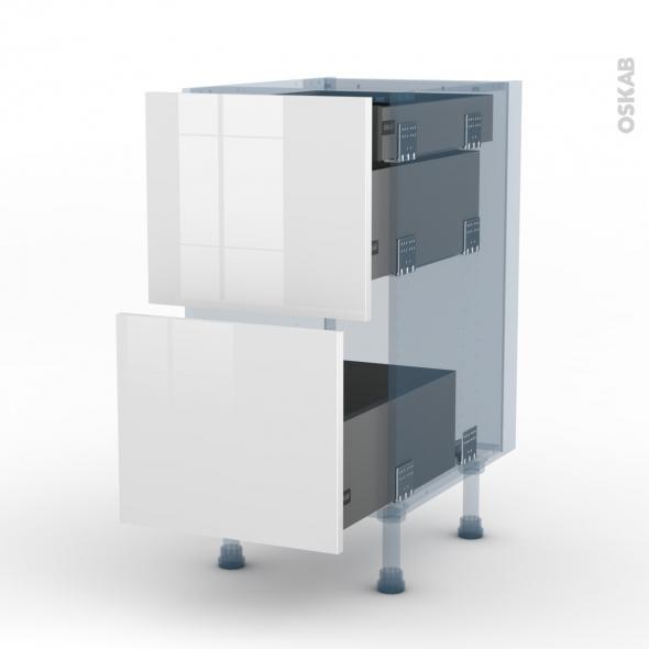 BORA Blanc - Kit Rénovation 18 - Meuble casserolier - 2 tiroirs-1 tiroir anglaise - L40xH70xP60