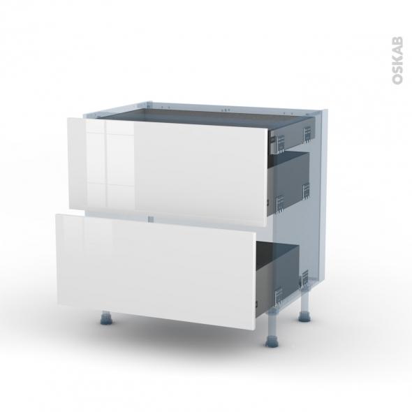 BORA Blanc - Kit Rénovation 18 - Meuble casserolier - 2 tiroirs - 1 tiroir anglaise - L80xH70xP60