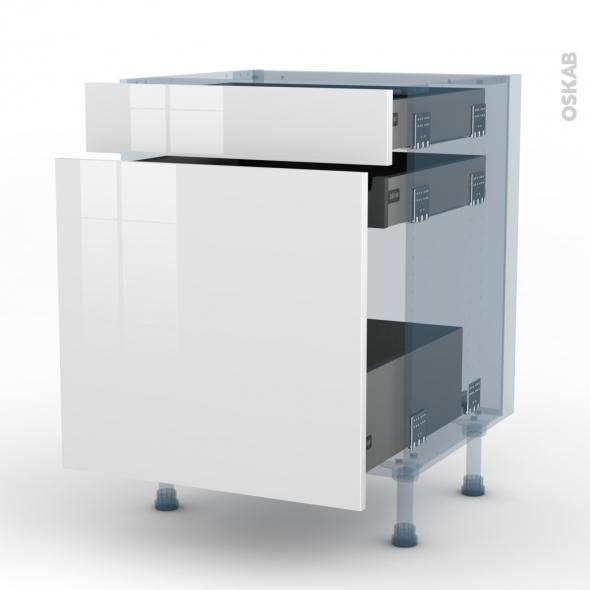 BORA Blanc - Kit Rénovation 18 - Meuble range épice - 3 tiroirs - L60xH70xP60