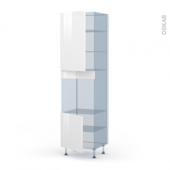 BORA Blanc - Kit Rénovation 18 - Colonne Four N°1624 - 2 portes - L60xH217xP60
