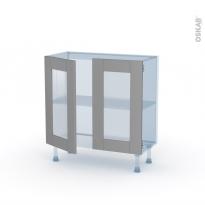 FILIPEN Gris - Kit Rénovation 18 - Meuble bas vitré cuisine - 2 portes - L80 x H70 x P37,5 cm