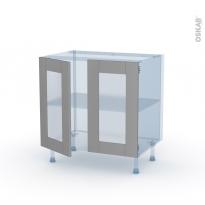 FILIPEN Gris - Kit Rénovation 18 - Meuble bas vitré cuisine - 2 portes - L80 x H70 x P60 cm