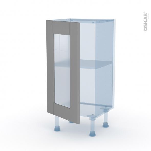 FILIPEN Gris - Kit Rénovation 18 - Meuble bas vitré cuisine - 1 porte - L40 x H70 x P37,5 cm