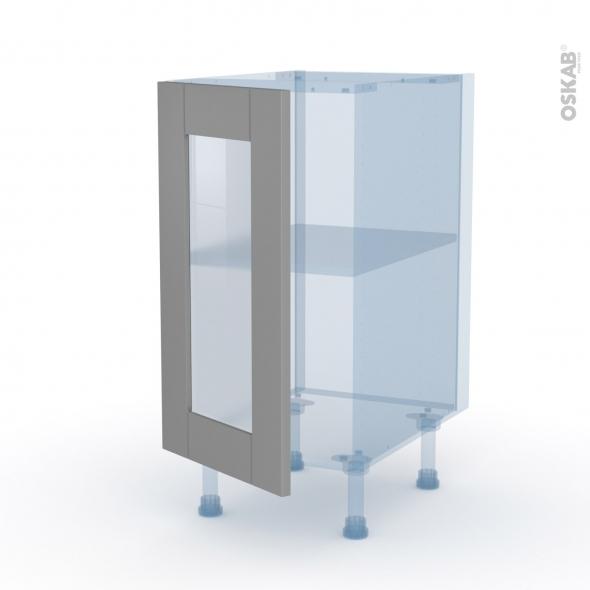FILIPEN Gris - Kit Rénovation 18 - Meuble bas vitré cuisine - 1 porte - L40 x H70 x P60 cm
