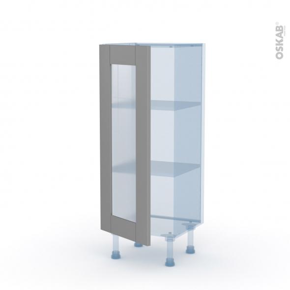 FILIPEN Gris - Kit Rénovation 18 - Meuble bas vitré cuisine - 1 porte - L40 x H92 x P37,5 cm
