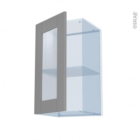 FILIPEN Gris - Kit Rénovation 18 - Meuble haut vitré cuisine - 1 porte - L40 x H70 x P37,5 cm