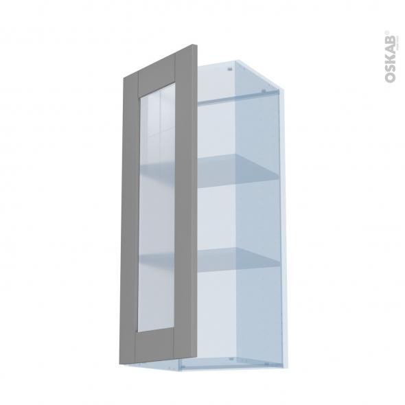 FILIPEN Gris - Kit Rénovation 18 - Meuble haut vitré cuisine - L40 x H92 x P37,5 cm