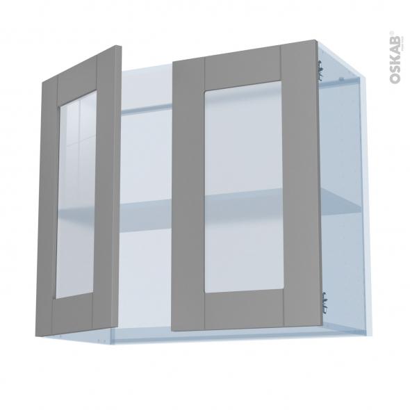 FILIPEN Gris - Kit Rénovation 18 - Meuble haut vitré cuisine - 2 portes - L80 x H70 x P37,5 cm