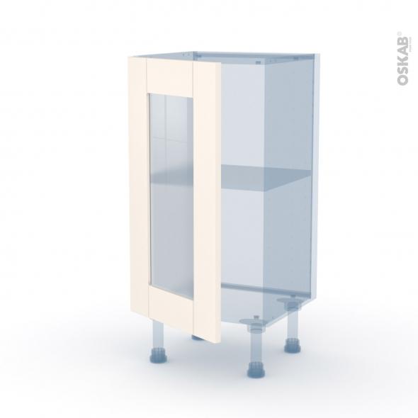 FILIPEN Ivoire - Kit Rénovation 18 - Meuble bas vitré cuisine - 1 porte - L40 x H70 x P37,5 cm