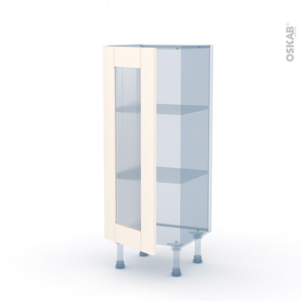 FILIPEN Ivoire - Kit Rénovation 18 - Meuble bas vitré cuisine - 1 porte - L40 x H92 x P37,5 cm