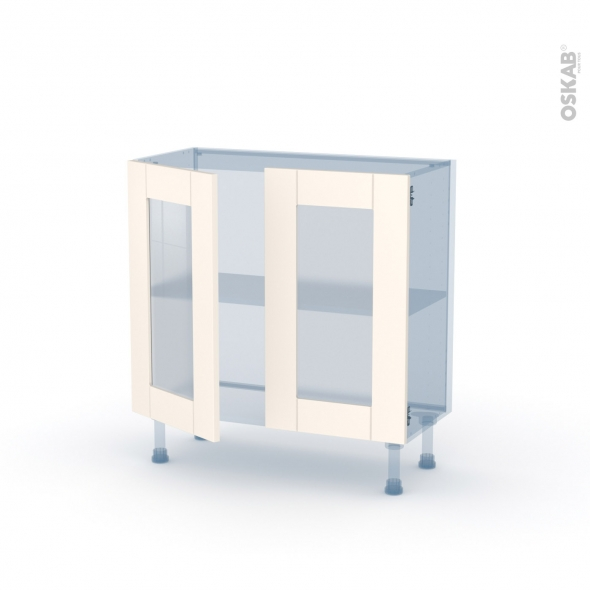 FILIPEN Ivoire - Kit Rénovation 18 - Meuble bas vitré cuisine - 2 portes - L80 x H70 x P37,5 cm