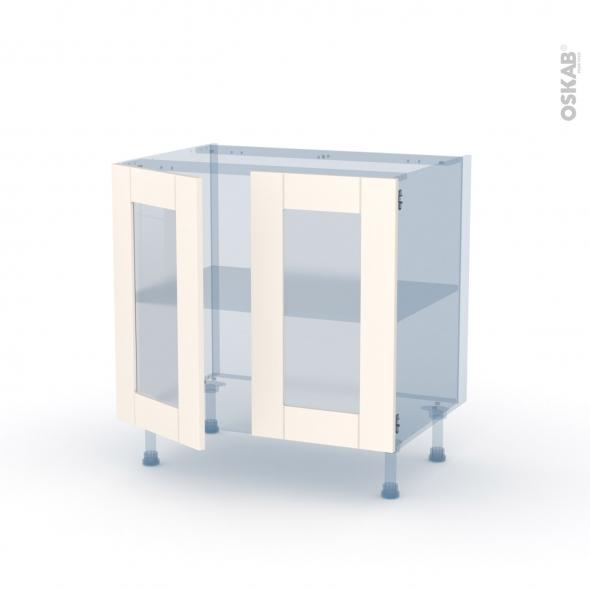 FILIPEN Ivoire - Kit Rénovation 18 - Meuble bas vitré cuisine - 2 portes - L80 x H70 x P60 cm