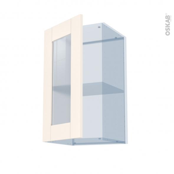 FILIPEN Ivoire - Kit Rénovation 18 - Meuble haut vitré cuisine - 1 porte - L40 x H70 x P37,5 cm
