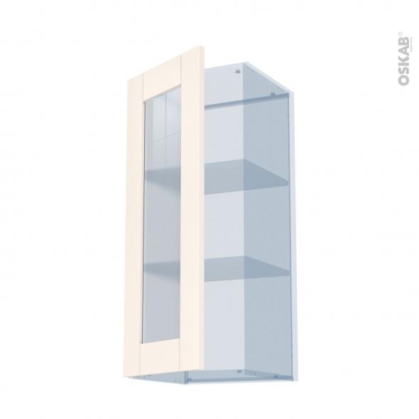 FILIPEN Ivoire - Kit Rénovation 18 - Meuble haut vitré cuisine - 1 porte - L40 x H92 x P37,5 cm