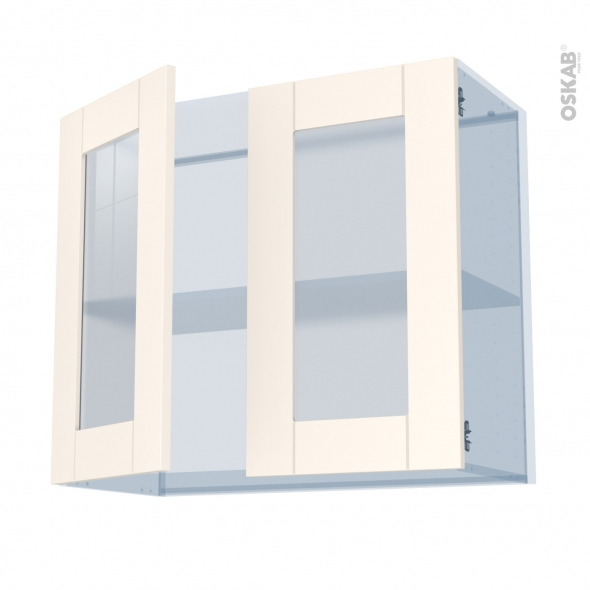 FILIPEN Ivoire - Kit Rénovation 18 - Meuble haut vitré cuisine - 2 portes - L80 x H70 x P37,5 cm