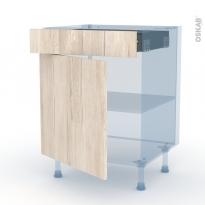 IKORO Chêne Clair - Kit Rénovation 18 - Meuble bas cuisine  - 1 porte 1 tiroir - L60xH70xP60