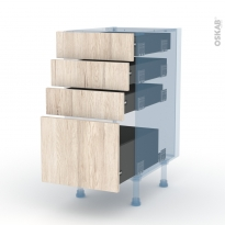 IKORO Chêne Clair - Kit Rénovation 18 - Meuble casserolier  - 4 tiroirs - L40xH70xP60