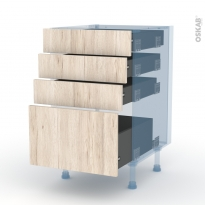 IKORO Chêne Clair - Kit Rénovation 18 - Meuble casserolier  - 4 tiroirs - L50xH70xP60