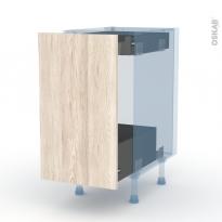IKORO Chêne Clair - Kit Rénovation 18 - Meuble bas coulissant  - 1 porte-1 tiroir anglaise - L40xH70xP60